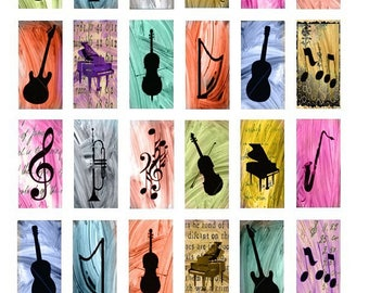 Music Theme Domino - 1x2 Inch - Digital Collage Sheet - Instant Download