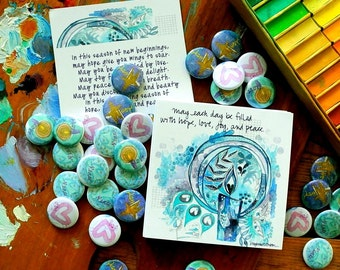 Advent Prayer Card and Blessing Buttons. Set of 100 prayer cards and 100 mixed hope, peace, joy, love pin back buttons.