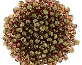 2mm Czech Rose Gold Topaz Firepolish Round Glass Beads 50 pcs