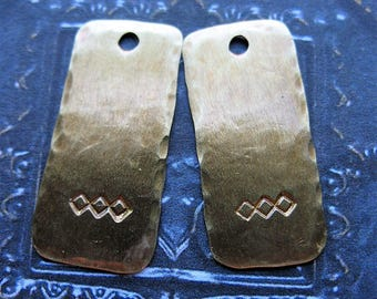 Antiqued Brass Diamond Stamped Rectangles - 1 Pair - 22mm in length