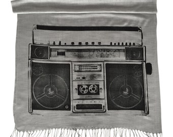 Boombox Print Scarf. Ghetto Blaster linen look pashmina. Retro stereo, black print on silver & more. For men or women.