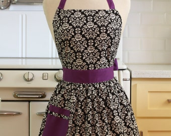 Apron Retro Black and White Floral Damask with Purple CHLOE