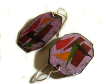 geometry octagon enamel earrings / orchid pink, scarlet red, marigold orange, grass green, chocolate brown, charcoal black