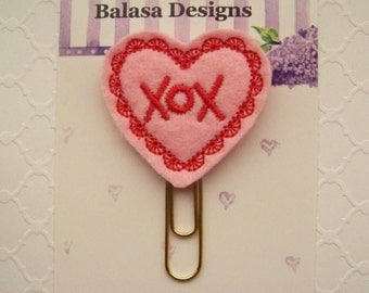 Hugs Kisses Pink Red Heart Valentine Planner Clip, Bookmark, Planner Accessory, Paper Clip