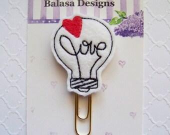 Love Bulb Valentine Planner Clip, Bookmark, Planner Accessory, Paper Clip