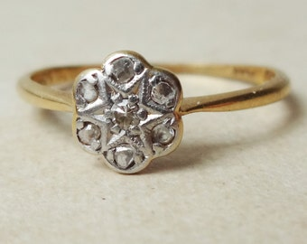 Art Deco Diamond Flower Ring, Vintage 18k Gold, Platinum and Diamond Engagement Ring, Approx Size 6.5