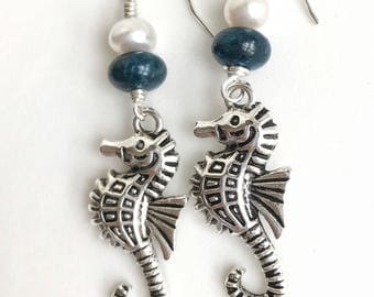 Nautical Seahorse earrings. White freshwater pearls with apatite beads.