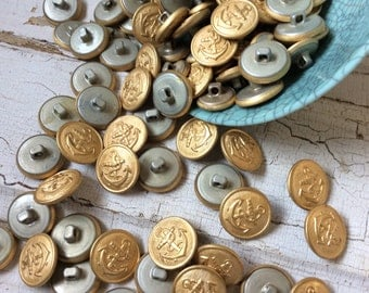 Nautical gold metal buttons,Vintage New old stock,Vintage uniform button,Set of 8,Faux brass buttons,Small brass look buttons,Anchor button