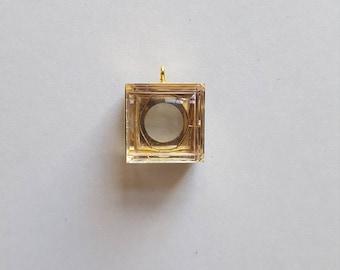 Vintage brass plastic locket charms