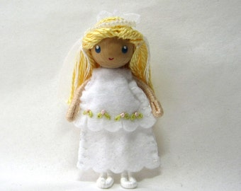 Bride Bendy Doll by Princess Nimble-Thimble, Wedding, Cake Topper, Christmas ornament, Waldorf bendable doll, small doll, First Communion
