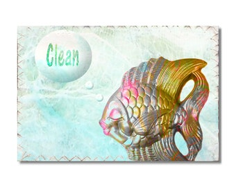 Clean Dirty Dishwasher Magnet Kitschy Goldfish Mini Flip Sign Fish  NOW Stainless Steel Option  laurdry sign Wife Gift