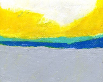 SALE: Cloudy 4 x 4 inch Abstract Yellow Grey Blue Yellow White Painting Art Modern Contemporary Decor