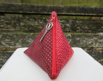 Patchwork Menstrual Cup Pouch, with scissor pull.