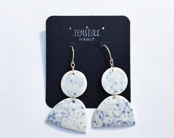 Porcelain Balance Earrings - White and Speckled Blue
