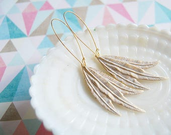 White and Brass feather dangle earrings - gold plate kidney wires -spring style