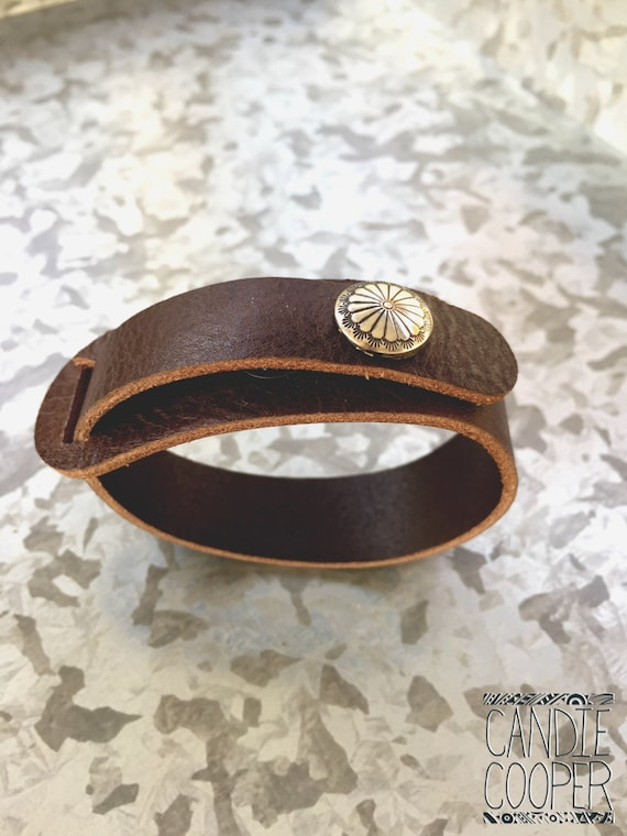Petite Dark Chocolate Leather Cuff with Concho