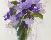 acrylic painting on paper flower painting purple flowers bouquet of flowers painterly flowers abstract floral