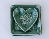 Pretty Little Square Ceramic Plate and Heart Plate, Clover