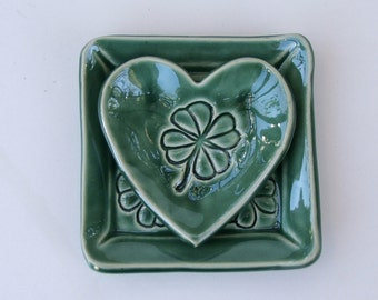 Pretty Little Square Ceramic Plate andHeart Plate, Clover