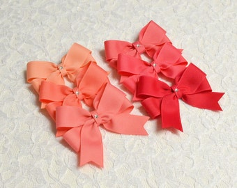 Coral Hair Bows- 5 styles - 4 sizes - pastel toddler bows - no slip baby bows - hair bow lot - girls bows - hair bows