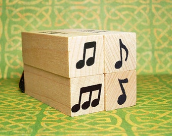 Music Notes Mini Rubber Stamp Set of 4 Boxed Accents for Music Dance Song