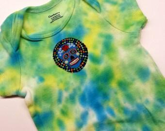 Tie Dye Sugar Skull Onesie-Baby Girl-Boy-12 month-Unisex