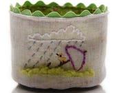 Small Linen Basket, Handmade Fabric Basket, Bird Embroidery, Tea Lover Gift, Coffee Lover Gift, Bird Lover Gift, Tea Storage