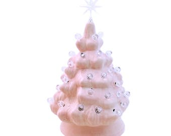 Pink Mini Ceramic Christmas Tree Traditional Clear Lights and Star Miniature 6 Inch Tabletop Tree Girls Room or Memory of Cancer Survivor