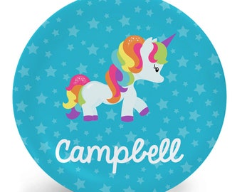 Unicorn Plate - Personalized Plate or Bowl - Gift for Kids - Personalized Melamine Plate (Plastic) - Rainbow Unicorn