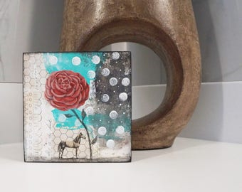 Horse Painting- Original Mixed Media Painting on Wood, Whimsical Art for the Office