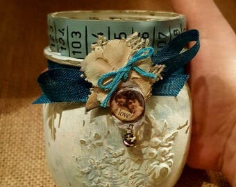 petite Mason ball jar with chippy shabby green chalk paint and vintage photo of.mother and child