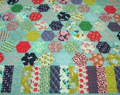 Patchwork Twin Size Quilt - Hexagon Star Quilt - Vintage Look Girl Quilt - Sweet Novelty Fabric - Extra Long Twin Quilt