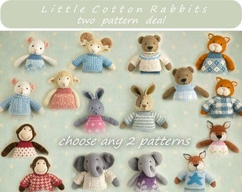 Toy knitting patterns. Two pattern deal - choose any 2 animal patterns  (sheep. rabbit, bear, mouse, elephant, fox, cat or monkey)