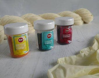 Acid Dyes and Sock Yarn - Acid Dye Kit - Merino Superwash and Nylon Sock Yarn - Dyes for Wool - Bright Yellow - Magenta - Turquoise - Dyeing