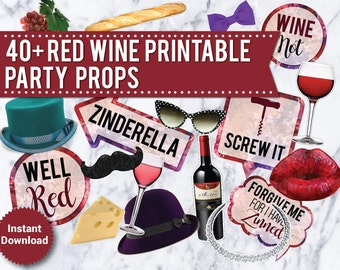 40+ Red Wine Photo Booth Props, Printable Wedding props, French, Mustache, Lips, neckalce, bow tie, photo booth signs, speech bubbles