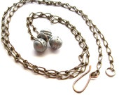Opera Lngth Chain Necklace Metal Ball Charms, 38 In, Metal Matte Faux Pewter Ball Charm, Vintage Aged Fold-over Link Chain, Gift for Her