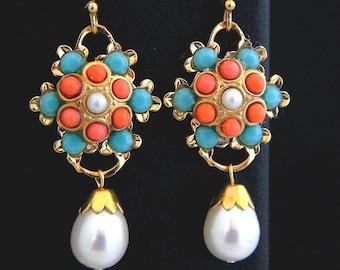 Vintage Coral Turquoise Teardrop Pearl Swarovski rhinestone Earrings