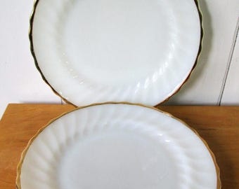 NEW ROOF SALE 2 vintage Fire King milk glass swirl plates