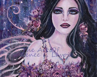 Abstract rose flowers fairy fae  art fantasy print  portrait by Renee L. Lavoie