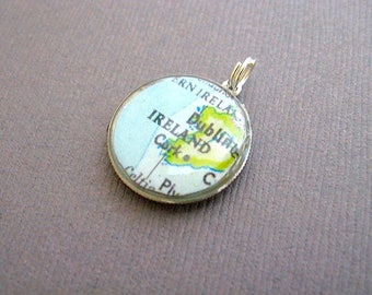 Dublin Ireland Map Coin Charm Pendant - Celtic -Cork Map - Recycled - Repurposed - Chain sold separately - coin jewelry
