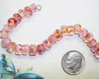 SORTAFLOWERING - 24 Small PINK CORAL Organic Lampwork Beads