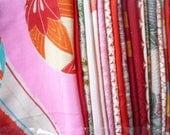 Red Silk Remnants, Japanese Vintage Kimono, Scrap Bag, Asian Textile, Most Silk Grab Bag, Craft Supplies