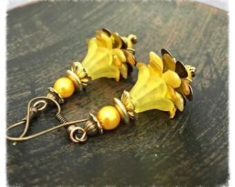 Jewelry Gift Earrings, Flower Dangle earrings, yellow earrings, yellow flower earrings, flower earrings, dangle earrings by pinkicejewels