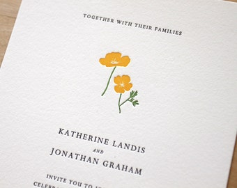 Letterpress Wedding Invitation - Poppy - simple, tasteful botanical Letterpress Wedding Invitation