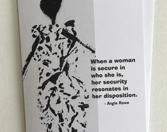 Blank Greeting Card- Secure Woman Quote