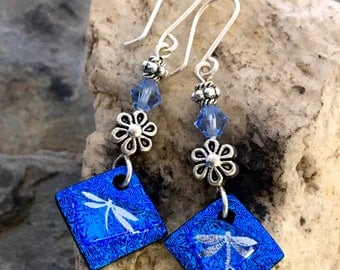 Long Dichroic Glass Earrings - Blue & Silver Dragonfly