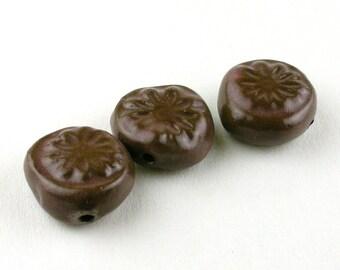 tablet flower beads, Flower Beads, Bead Set, Brown Beads, Dark Brown Beads, Daisy Beads, Ceramic Beads, stoneware beads, pottery beads,
