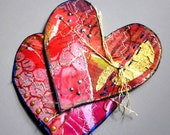 Embellished Patchwork Style Paper Hearts - set of 2 - Card making, Scrapbooking, Paper arts