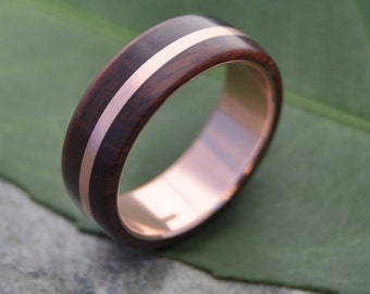 Size 10, 6mm READY TO SHIP Rose Gold Solsticio Oro Nacascolo Wood Ring - 14k rose gold, pink gold wood wedding band, wooden rose gold ring