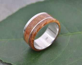 Size 10, 9mm READY TO SHIP Bourbon Barrel Wood Ring - White Oak Un Lado Asi Wood Ring - wood wedding band with recycled sterling silver